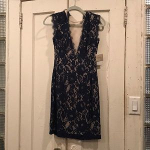 Aidan Mattox Navy/Nude Lace Dress